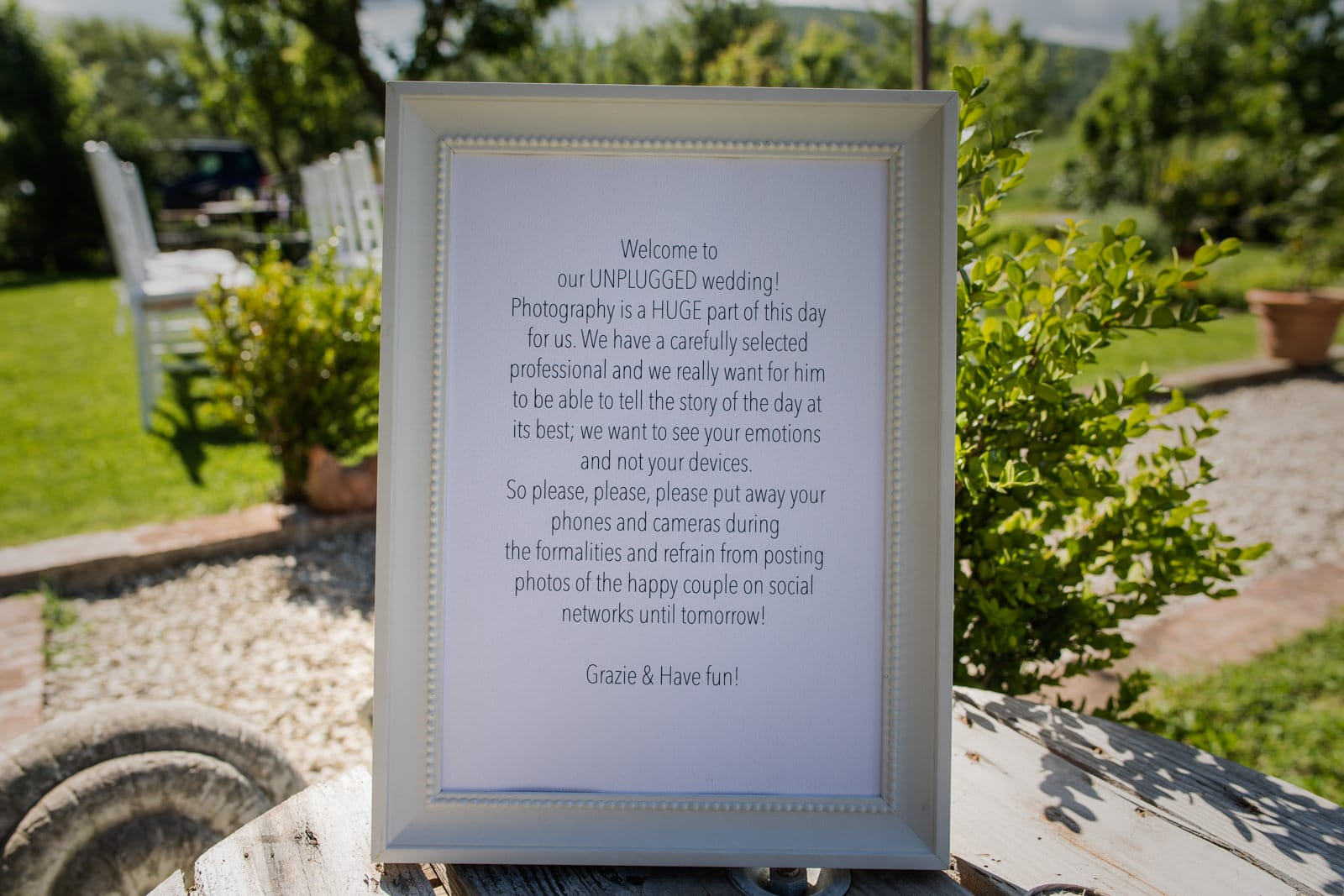 a sign for an unplugged wedding